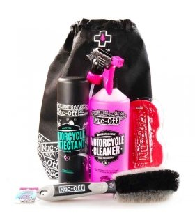 KIT COMPLETO CUIDADO MOTO (PROTECTANT + CLEANER + ESPONJA + CEPILLO) MUC-OFF Motorcycle Essentials