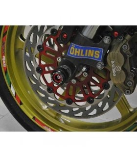 PROTECTION SYSTEM FRONT WEEL AXIE SLIDERS (RED) FOR APRILIA RS250 BY MELOTTI RACING