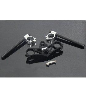TYGA Triple clamp CNC black + handle bar set, KTM RC125/RC200/RC390
