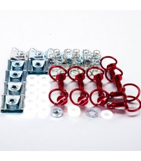 PRO-BOLT ALUMINIUM RED QUICK RELEASE/CLIP3 D-RING 19MM QRPACKSLIDE19R""