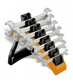 Set of 7 double open end wrenches with holder