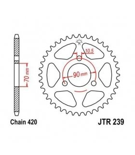 REAR SPROCKET  JT239 HONDA CRM 50 /75