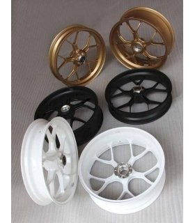 Forged Aluminium Racing wheel set, 5 spoke, PVM, Front 3.50 x 17, Rear 5.5 x 17, Satin black