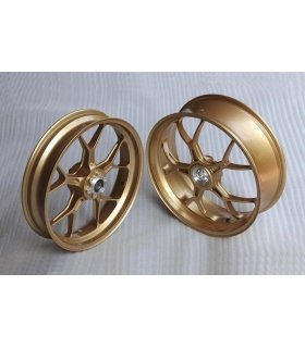 Forged Aluminium Racing wheel set, 5 spoke, PVM, Front 3.50 x 17, Rear 5.5 x 17, Gold.